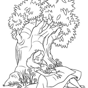 Alice is Sleeping Under the Tree in Alice in Wonderland Coloring Page