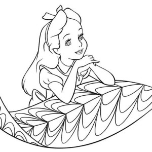 Alice is Wondering on Leaf in Alice in Wonderland Coloring Page