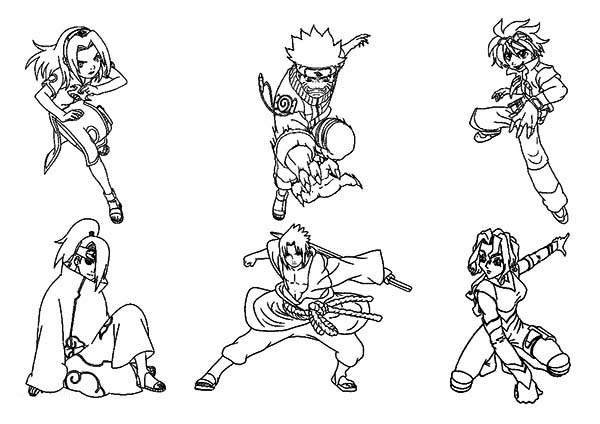 Amazing Naruto Characters Coloring Page - Download & Print Online ...