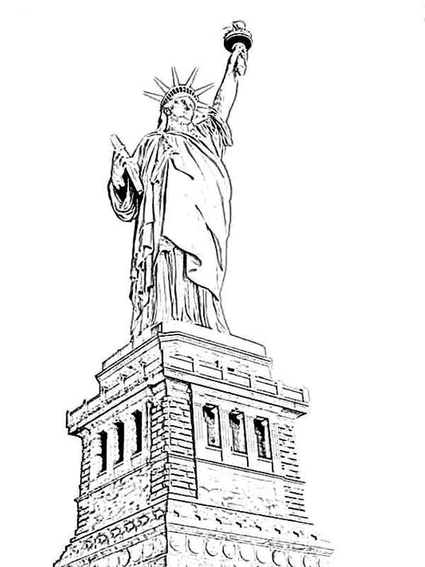 print amazing statue of liberty coloring page in full size