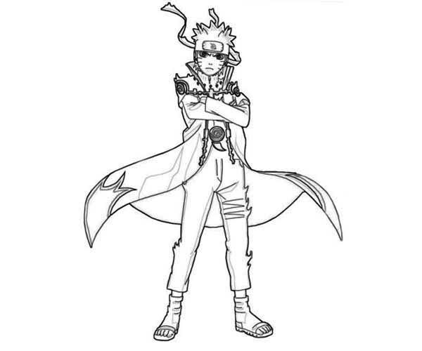 Amazing Uzumaki Naruto Standing Coloring Page