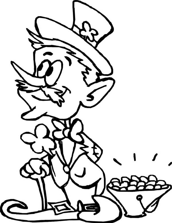 An Old Leprechaun and a Small Pot of Gold Coloring Page Download