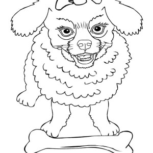 Angry Dog Protecting Its Bone Coloring Page