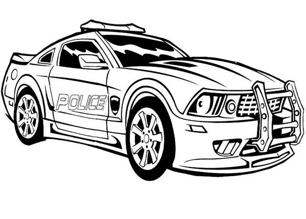 Autobot transform to police car in transformers coloring for Police car coloring pages to print