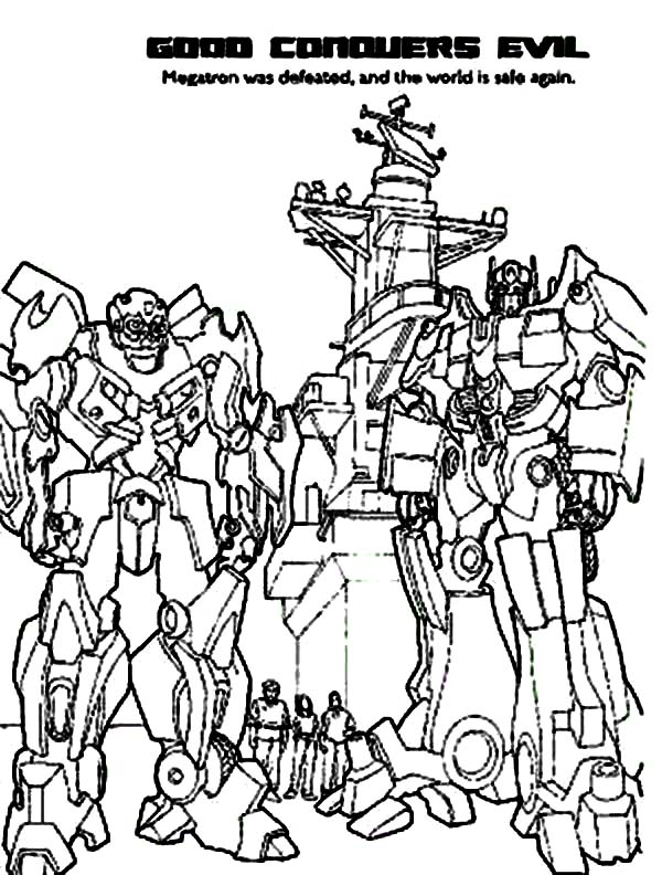 Autobots Conquers Decepticons in Transformers Coloring Page ...