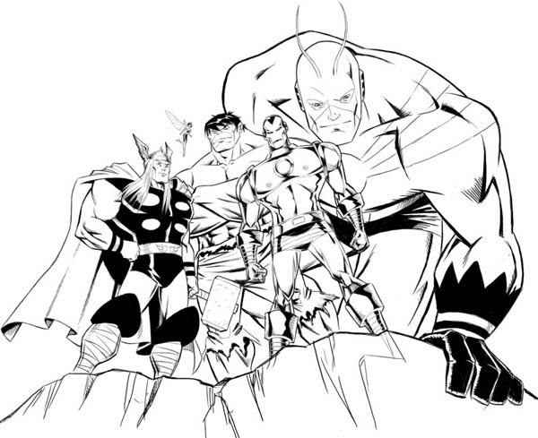 Avengers Tower Coloring Pages : Avengers assemble in coloring page