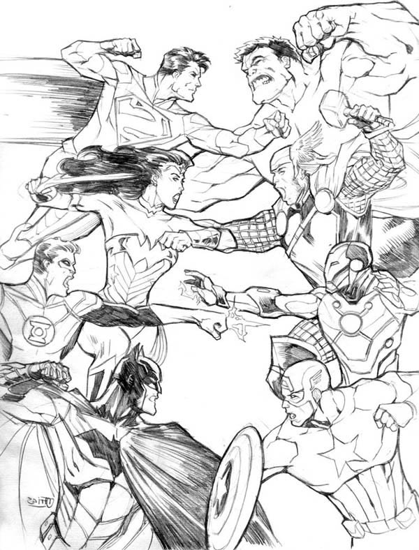Avengers vs Justice League in Avengers Coloring Page - Download ...