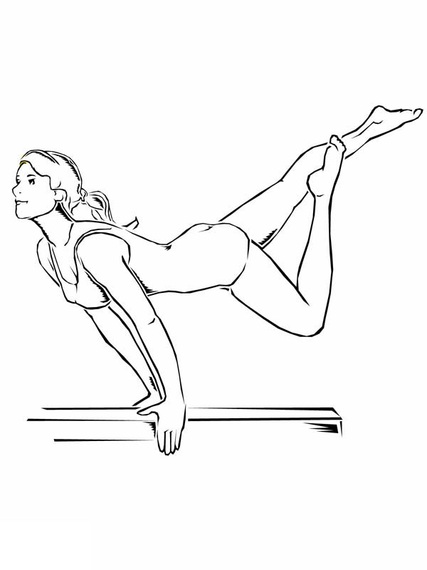 Awesome Balance Beam Artistic Gymnastic Coloring Page: Awesome ...