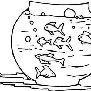 Awesome Fish Bowl Coloring Page