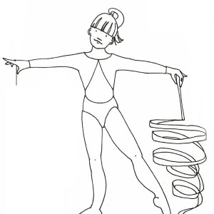 Awesome Ribbon Individual All Around Rhythmic in Gymnastic Coloring Page