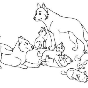 Babies Wolf Coloring P...