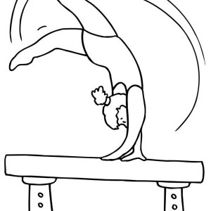 Balance Beam Gymnastic Athlete Coloring Page