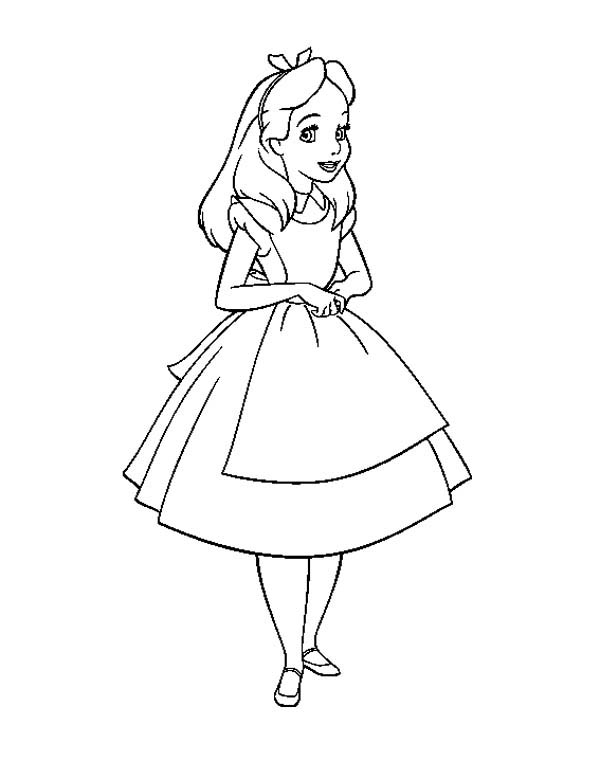 alice in wonderland beautiful alice in wonderland coloring page - Alice Wonderland Coloring Pages