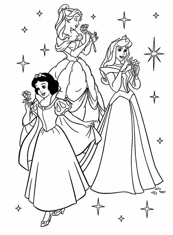 beautiful princess aurora and friends coloring page