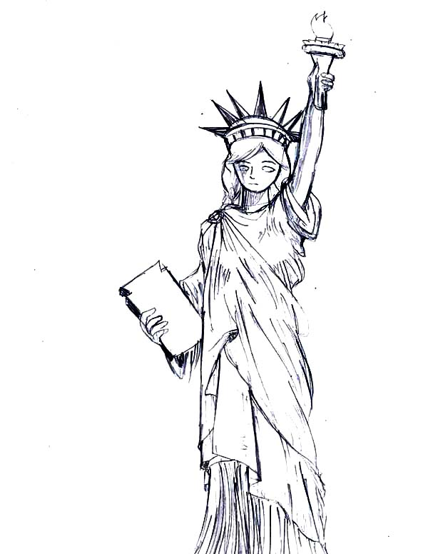 Beautiful Statue Of Liberty Coloring Page