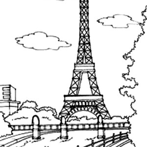 Eiffel Tower Outline Coloring Page Eiffel Tower Outline Coloring