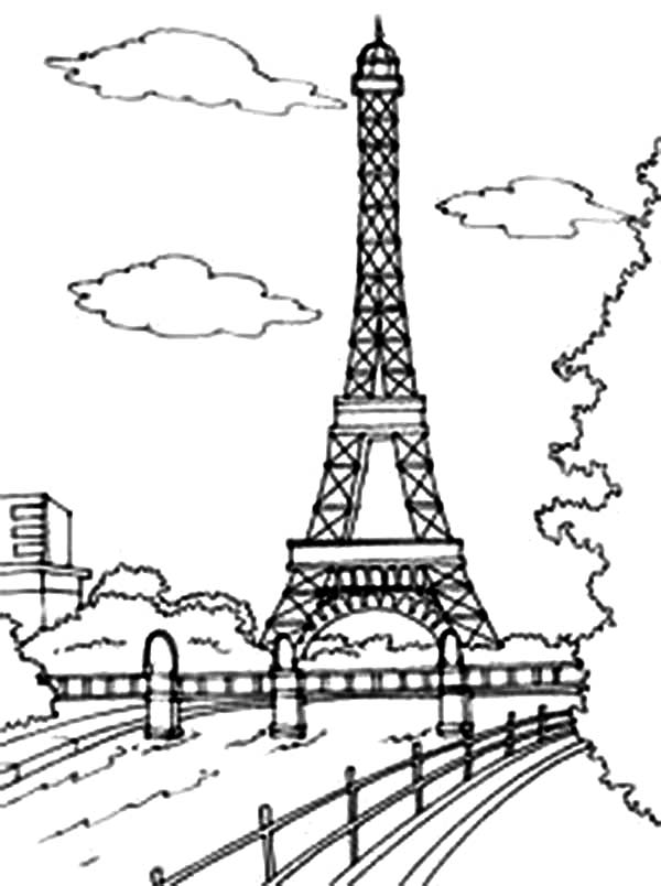 Beautiful View of Eiffel Tower Coloring Page Download Print