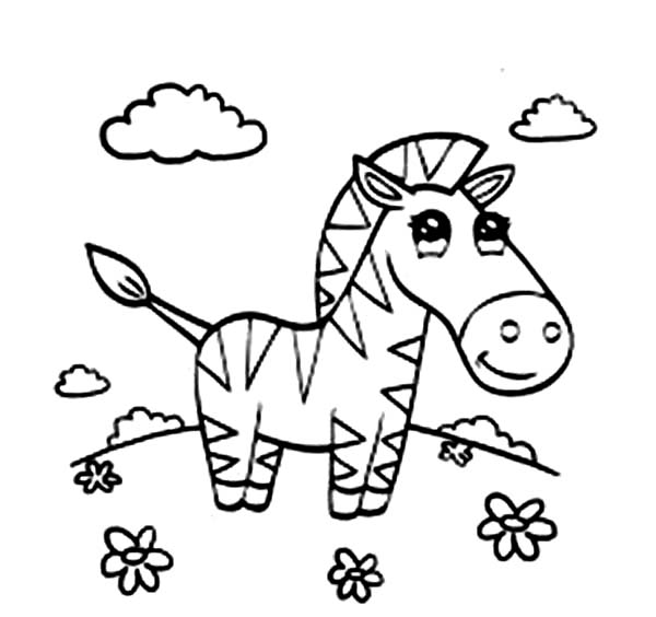 Beautiful Zebra Coloring Page