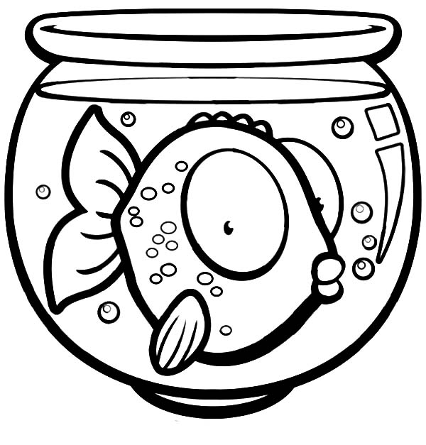 Big Eyed Fish In Bowl Coloring Page