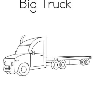 big flat base semi truck coloring page - Semi Truck Trailer Coloring Pages
