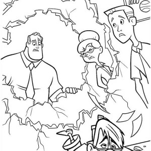 Bob Parr Throwing his Boss in The Incredibles Coloring Page