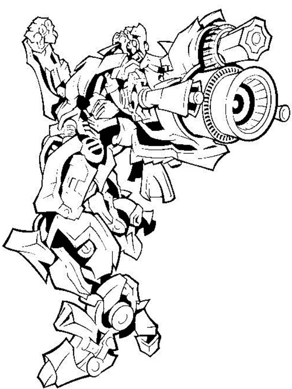 Bumblebee Firing Bazooka in Transformers Coloring Page  Download