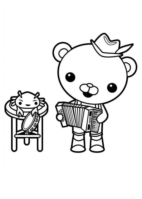 Captain Barnacles Playing Accordion in The Octonauts Coloring Page