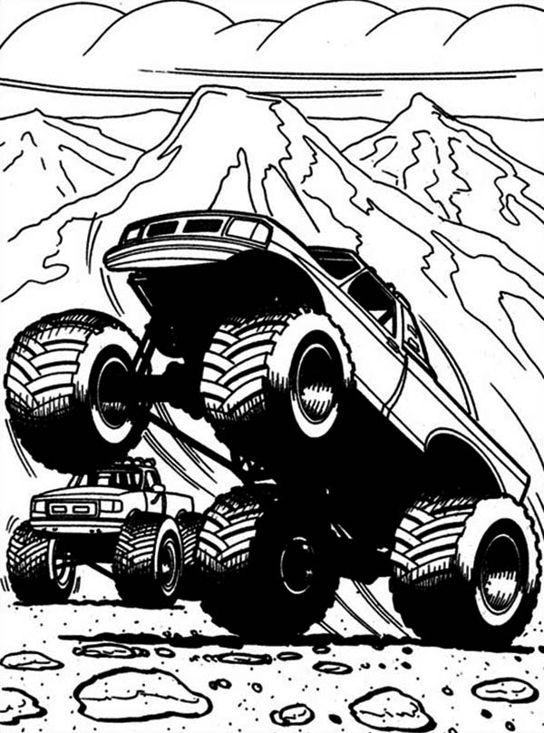 captains curse monster truck coloring page