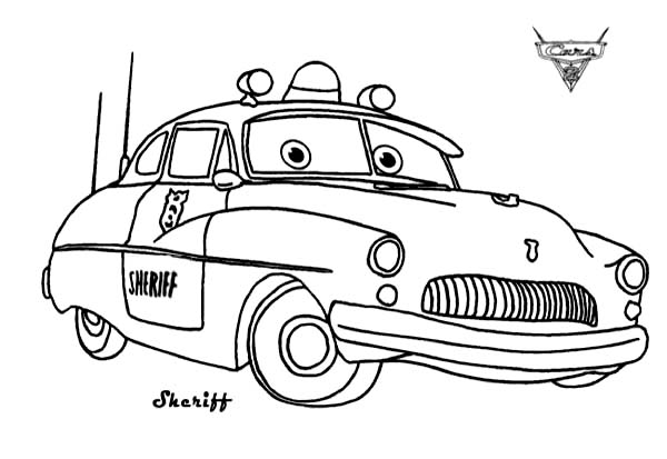 cars sheriff from disney cars coloring page - Disney Cars Coloring Pages