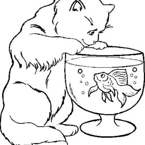 Cat Trying To Catch Fish In Bowl Coloring Page