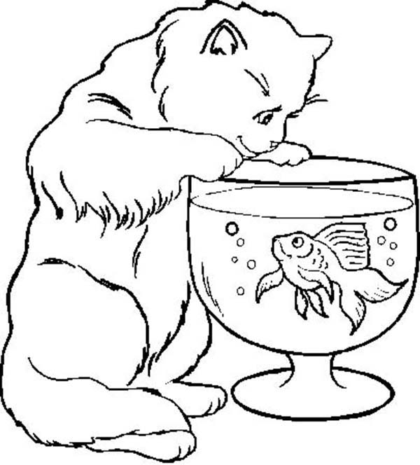 Cat Trying to Catch Fish in Fish Bowl Coloring Page Download
