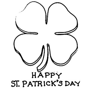 Celebrating St Patricks Day with Four Leaf Clovers Coloring Page