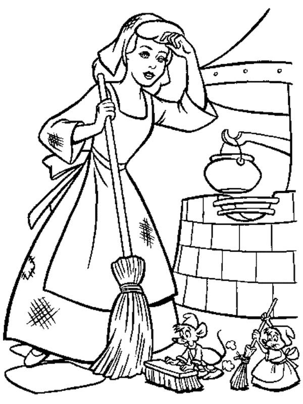Cinderella Cleaning Coloring Pages Coloring Pages