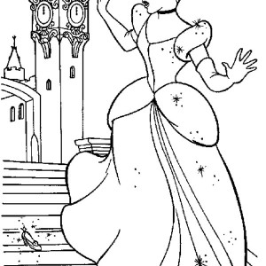 Cinderella Dropping One of Her Glass Slippers in Cinderella Coloring Page