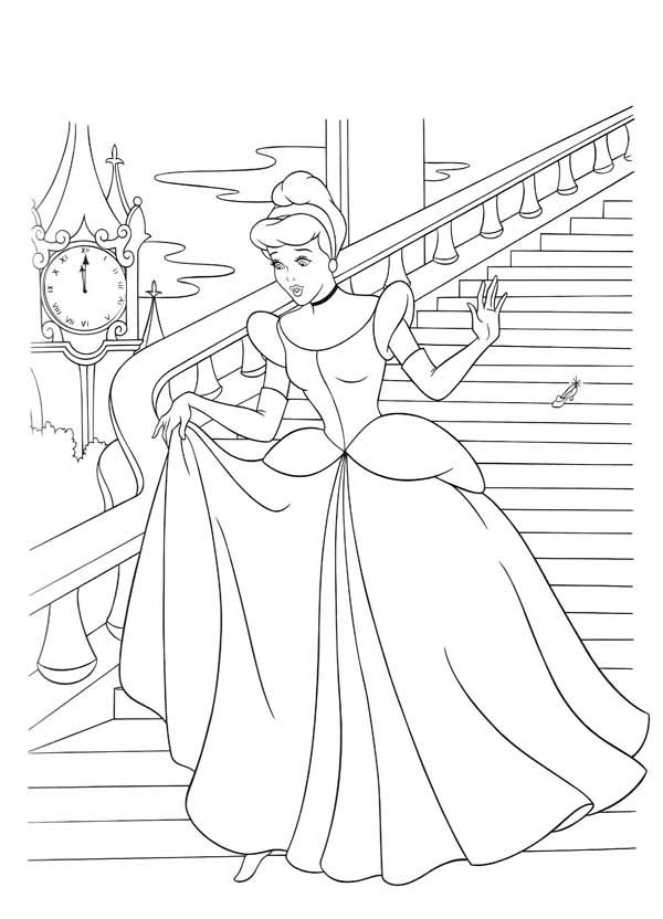 cinderella flees from prince charming castle in cinderella coloring page