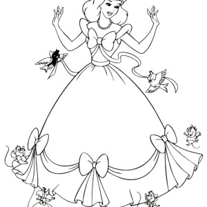 Cinderella Helped by Her Friends in Cinderella Coloring Page