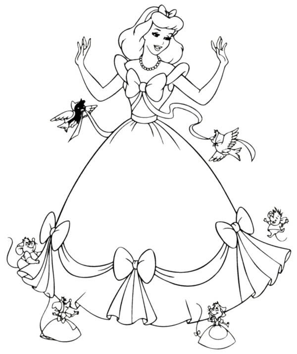 Cinderella helped by her friends in cinderella coloring for Cinderella coloring pages online