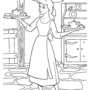 Cinderella Serving Food in Cinderella Coloring Page