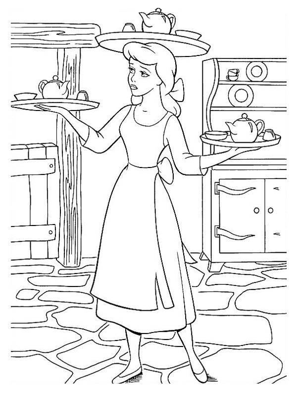 Cinderella Serving Food In Coloring Page