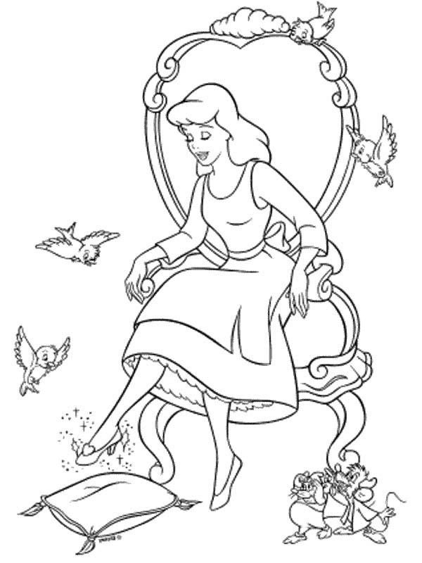 Cinderella Trying Glass Slipper In Coloring Page
