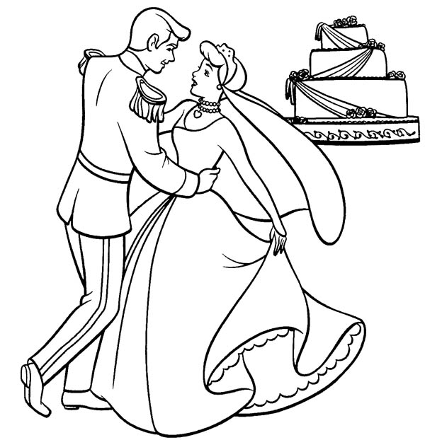 cinderella cinderella and prince charming dance their wedding party in cinderella coloring page cinderella