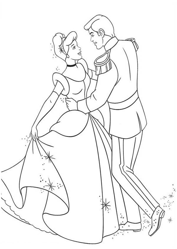 cinderella cinderella and prince charming dance in cinderella coloring page cinderella and prince charming - Cinderella Coloring Pages