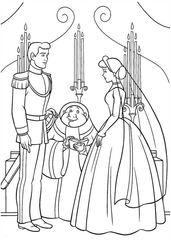 cinderella and prince charming about getting married in cinderella coloring page