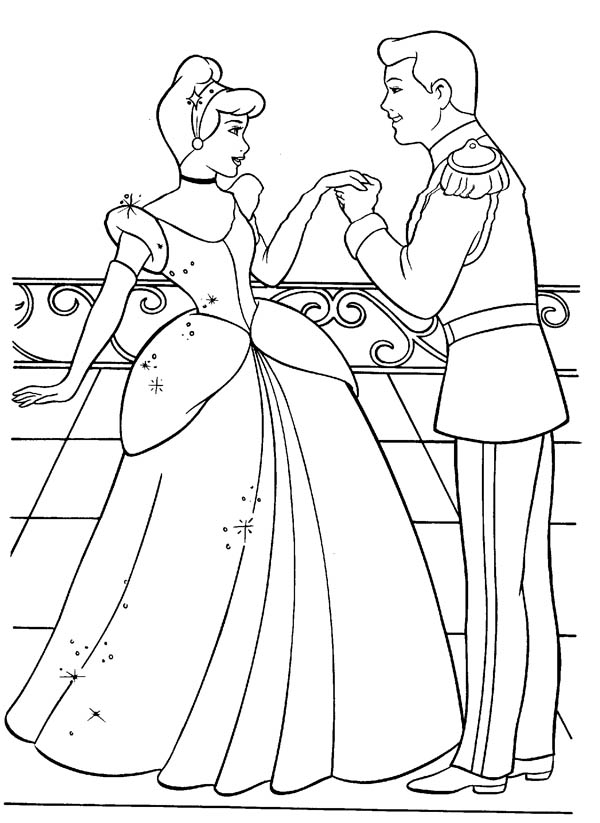 Cinderella And Prince Charming Are In Love Coloring Page