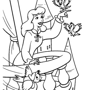Cinderella and Two Little Birds in Cinderella Coloring Page