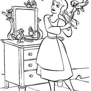 Cinderella trying glass slipper in cinderella coloring for Glass slipper coloring page