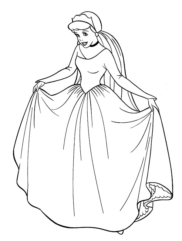 Cinderella in Her Wedding Dress in Cinderella Coloring Page ...