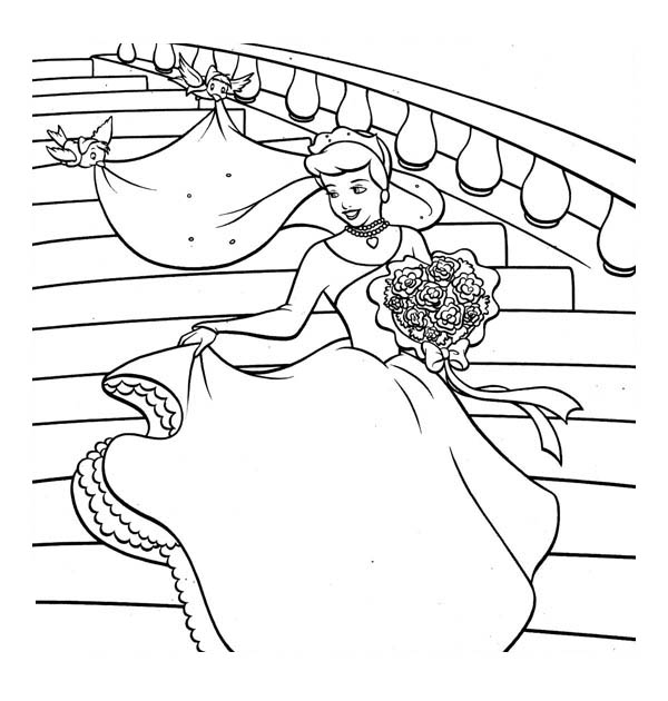 Cinderella So Happy In Her Wedding Dress Coloring Page