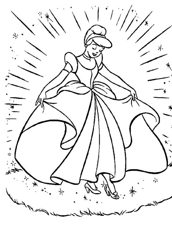 Cinderella Cinderellas New Beautiful Dress In Coloring Page