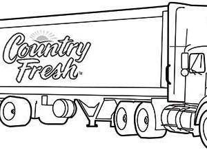 country fresh semi truck coloring page